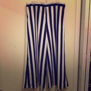 Forever 21 Plus Size Velvet Striped Palazzo Pants